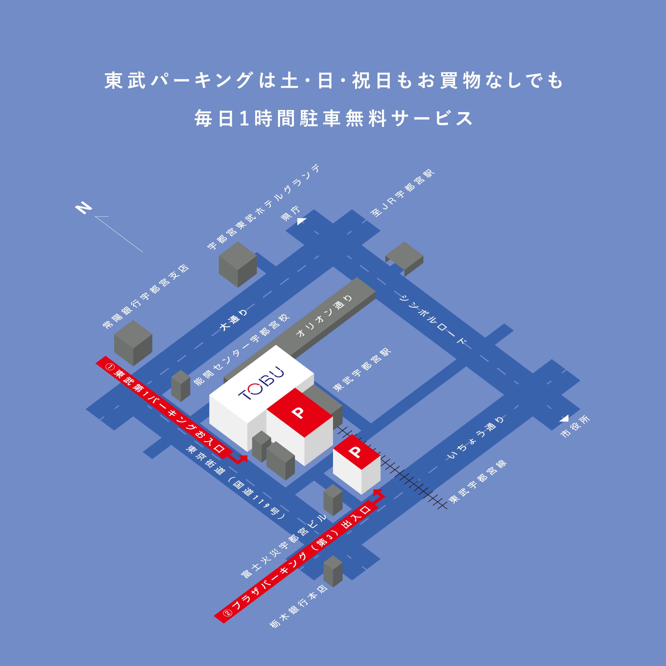 東武パーキングは土・日・祝日もお買物なしでも毎日1時間駐車無料サービス